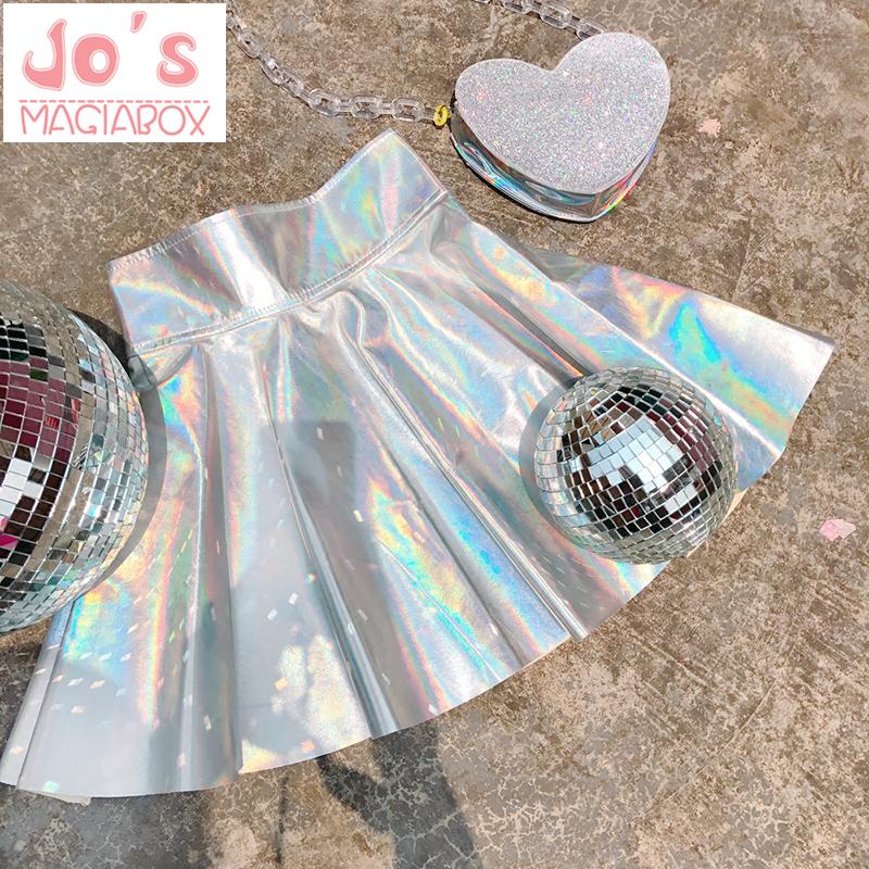 Holographic Pleated Skirts Women PU Solid Harajuku Casual Sexy Laser Hight Waist Micro Mini Short JK Skirts Women Rainbow 1
