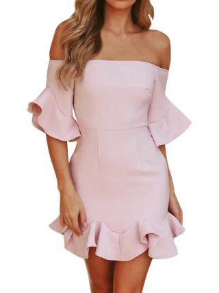 18 Spring Summer Popular Ruffled Half Sleeves Elegant Dress Bodycon Women Off Shoulder Sexy Party Dress Nightclub Short Dress