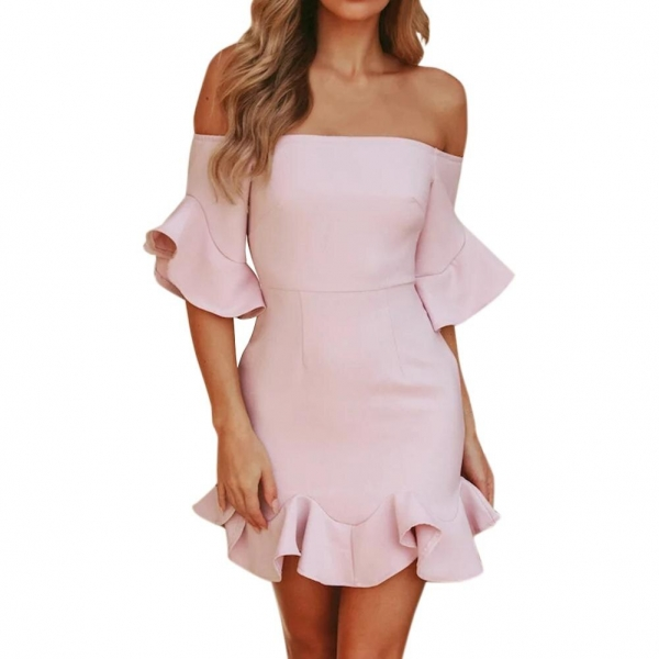 18 Spring Summer Popular Ruffled Half Sleeves Elegant Dress Bodycon Women Off Shoulder Sexy Party Dress Nightclub Short Dress