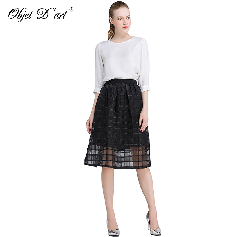 Classic Women Mesh Skirts Worsted Plaid Patchwork Skirt Elegant High Waist Organza Gauze Tulle Black Striped Casual A-Line Skirt 2
