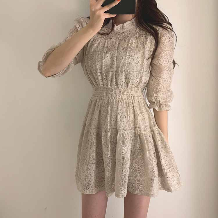 19 Summer Women Lace Dress O-neck Half Sleeves A-line Dress Solid Ruffle Lace Patchwork Dress Vestidos 1