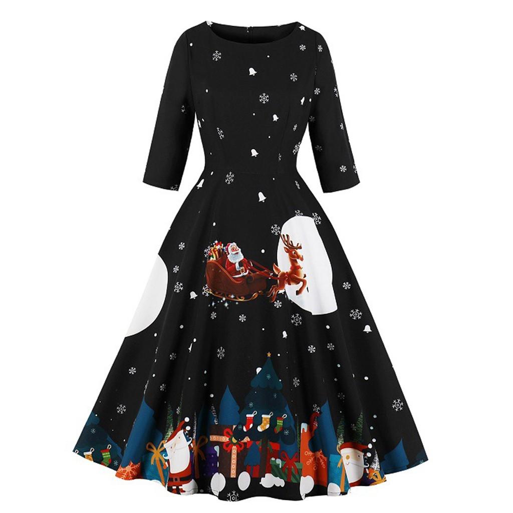 Christmas Dress Women Festival Santa Claus Print Autumn Winter Vestidos Robe Plus Size Half Sleeve Zipper Vintage Party Dresses 1