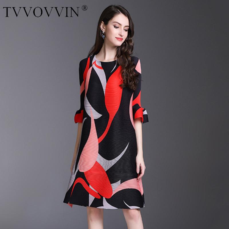 TVVOVVIN 19 New Pleated For Women Flare Half Sleeve Printed Dress Female High Quality Clothing Vestido E004 1