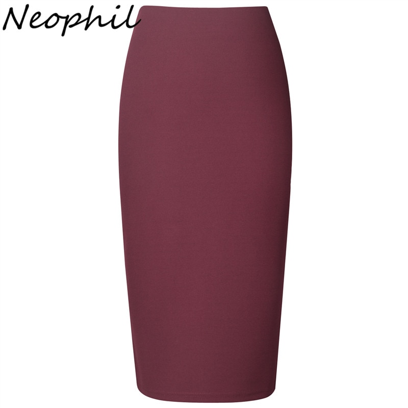 Neophil 19 Winter Sexy Ladies Chiffon Pencil Skirts Midi High Waist Stretch Slim Casual Pink Black Office Work Wear Saia S0311 1