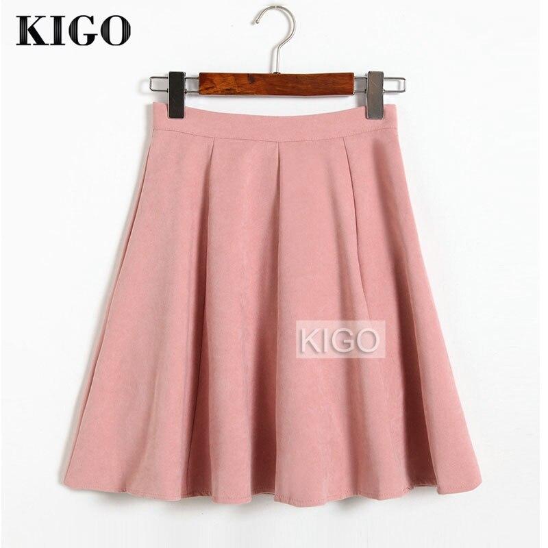 KIGO Autumn Winter Skirts Women 18 Suede Skirt High Waist Flared Skirt Knee-Length Midi Casual Vintage Skirt Faldas KJ1065H 3