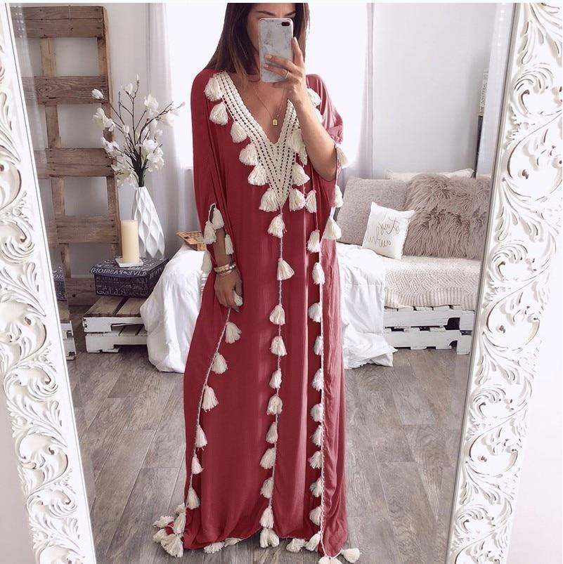 Plus size bohemian half sleeve maxi dress Women casual loose tassels dress Summer 19 straight long dresses robe femme 3