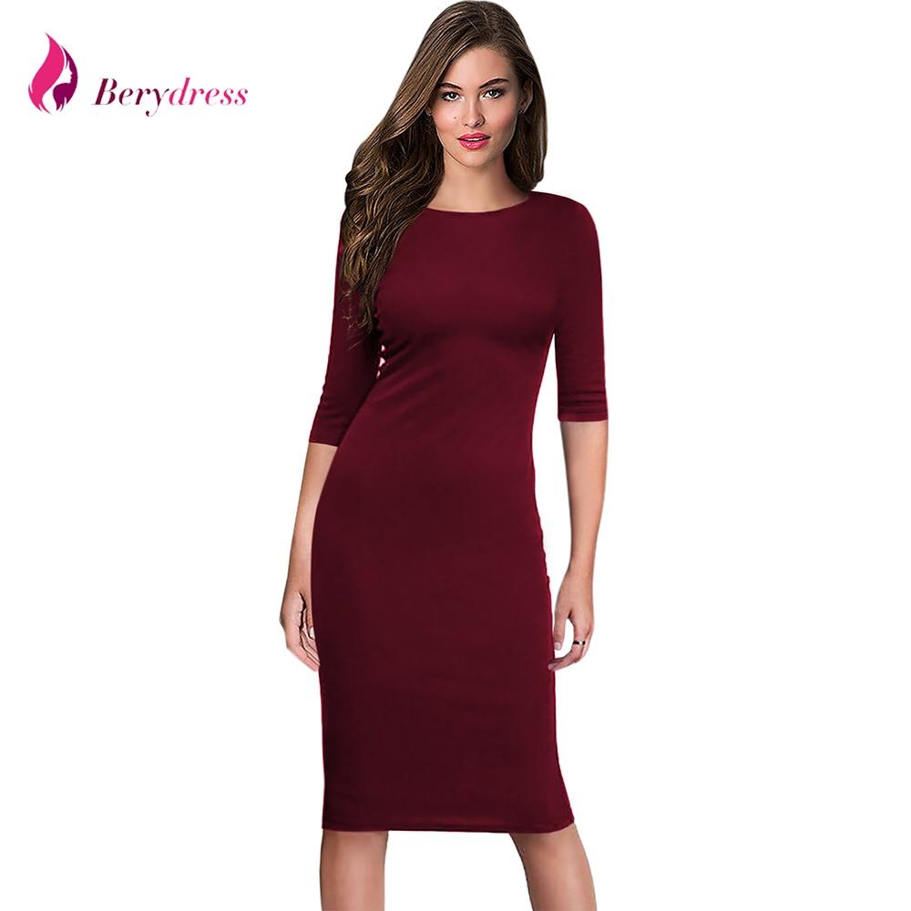 Berydress Women's Work Office Dresses 18 Summer Half Sleeve Knee Length Midi Formal Vestidos De Festa Burgundy Casual Dresses 1