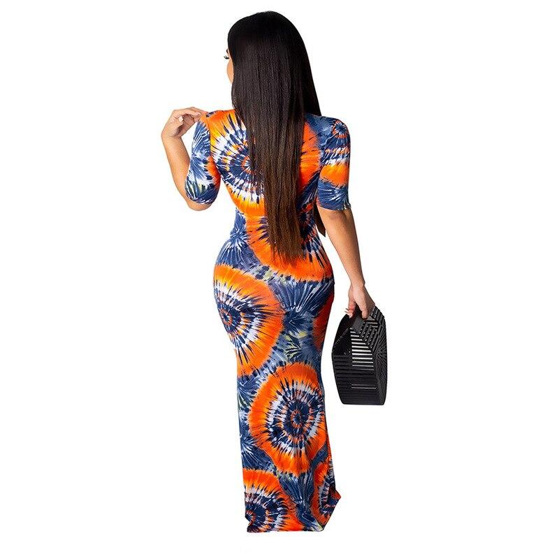Geometric Pattern Sexy Bohemian Dress Women Deep V Neck Half Sleeve Floor-Length Dress Vintage High Waist Slim Fit Beach Dress 2
