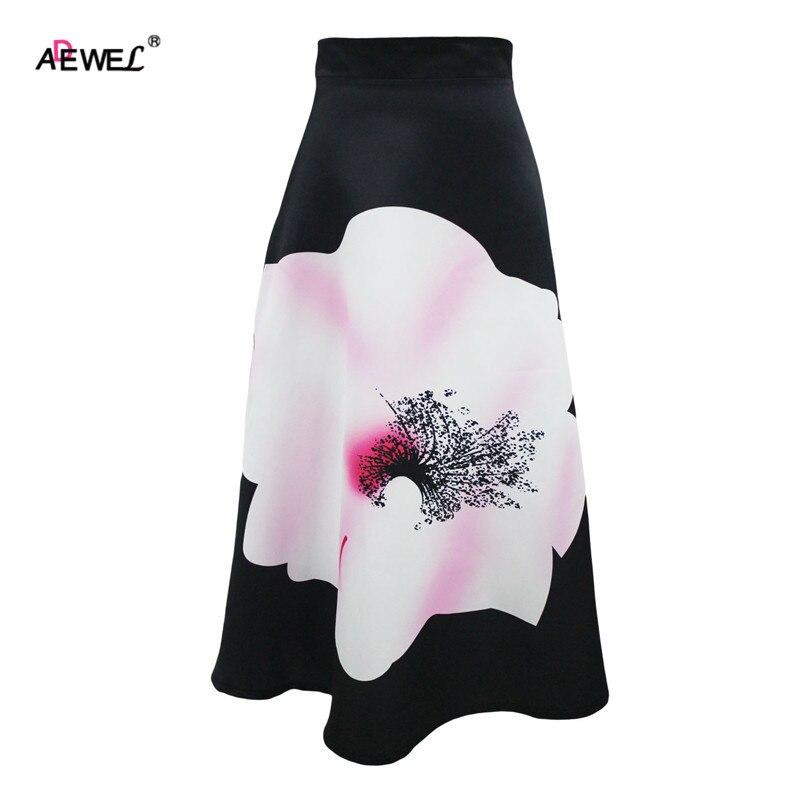 ADEWEL Summer Vintage High Waist Women A Line Skirts Elegant Floral Ptinted Casual Skirt Fashion Color Block Maxi Skirt Black 3