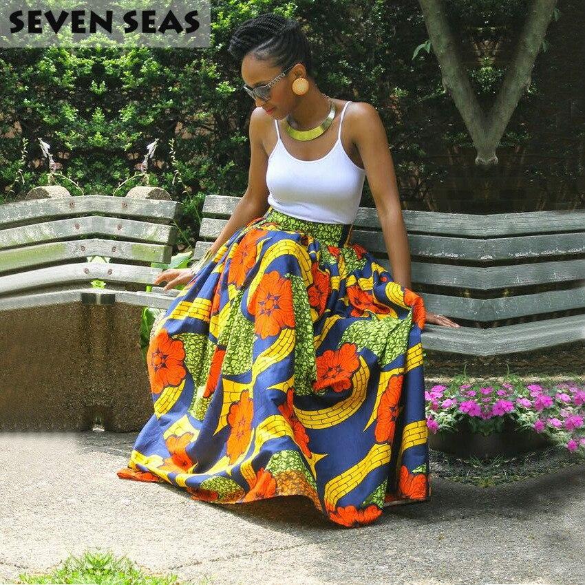 Elegant Long African Print Skirt Vintage Ethnic High Waist Maxi Skirts Jupe Longue Femme 2