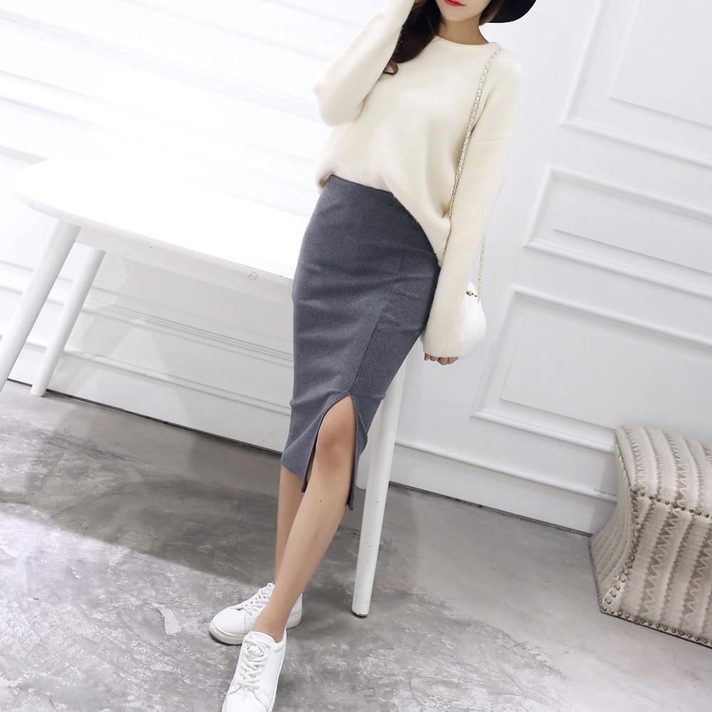 Women Solid Elegant Sexy Split Slim Skirts Hight Waist Kintting Cotton Ladies Summer Skirts Mid-Calf Bodycon Pencil Skirt Saia 3