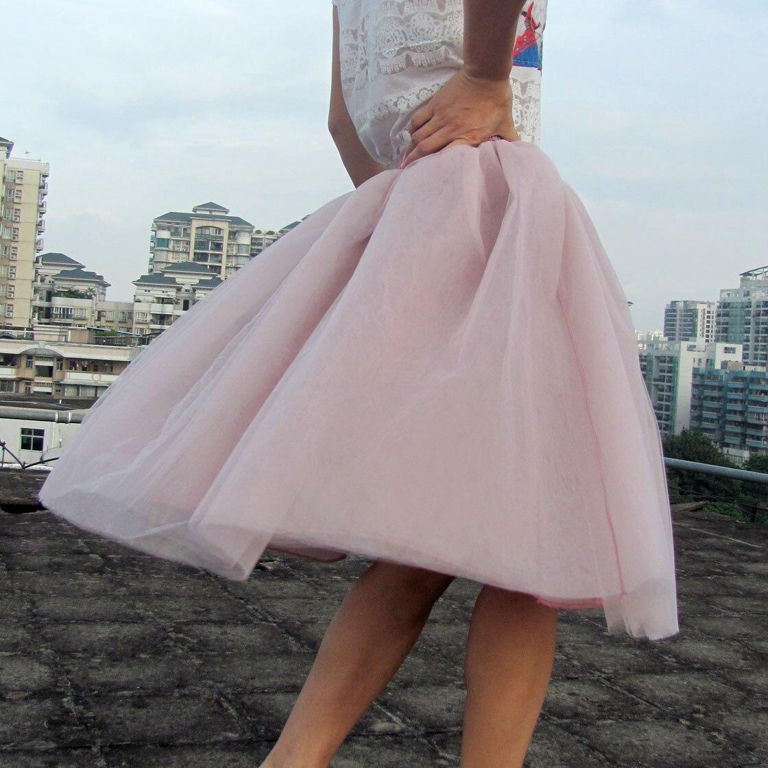 Spring Tutu Skirt Women Girls Princess Fluffy Pleated Womens Jupe Femme Faldas Rokken Summer Custom Made 7 Layers Tulle Skirts 2