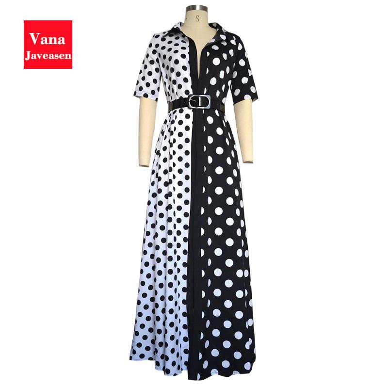 Vana Javeasen Autumn Half Sleeve Women Dress Dot Print V-Neck Woman's Clothing Sashes Evening Party Black Long Dresses Womens 3