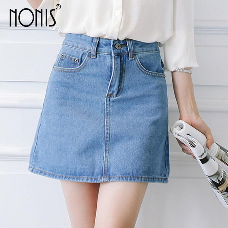 Nonis Basic A-line Retro Academy style Denim Jeans Skirts For Women Spring Summer slim figures New Plus Size femme Skirts 1