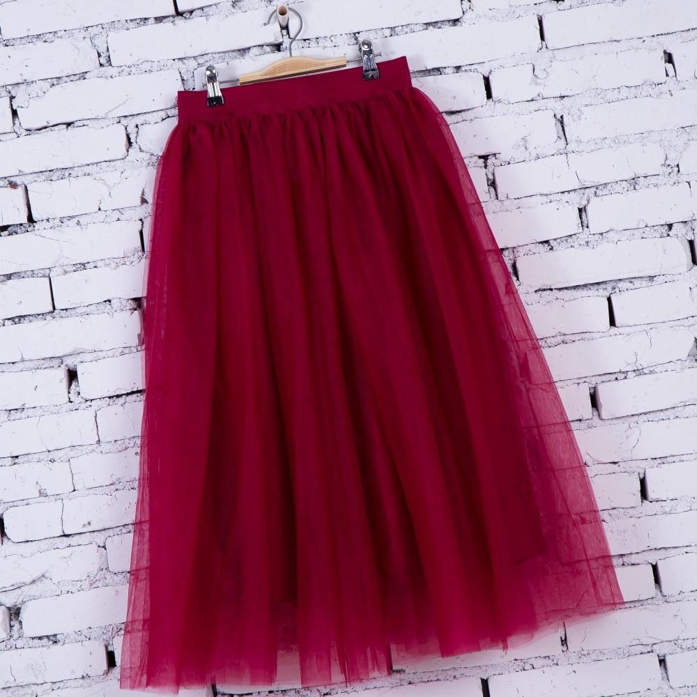 FOLOBE Vintage 7 colors faldas korean style 80cm Long maxi Tulle skirts autumn jupe high waist adult long tulle skirt 4 Layers 3