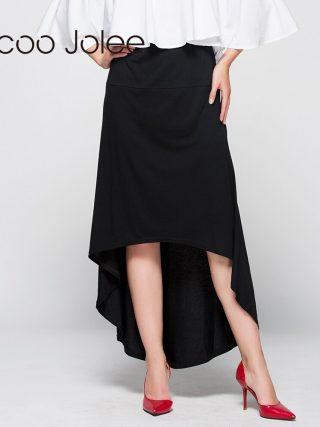 Jocoo Jolee Women Asymmetrical Skirt Swallow Tail Natural Waist Casual Party Beach Fitted Elegant Long Skirt Ladies Jupe