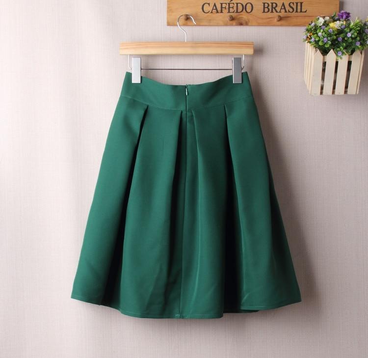 BACHASH Elegant Women Skirt High Waist Pleated Knee Length Skirt Vintage A Line Big Bow Red Black Side Zipper Skater Skirts Red 2