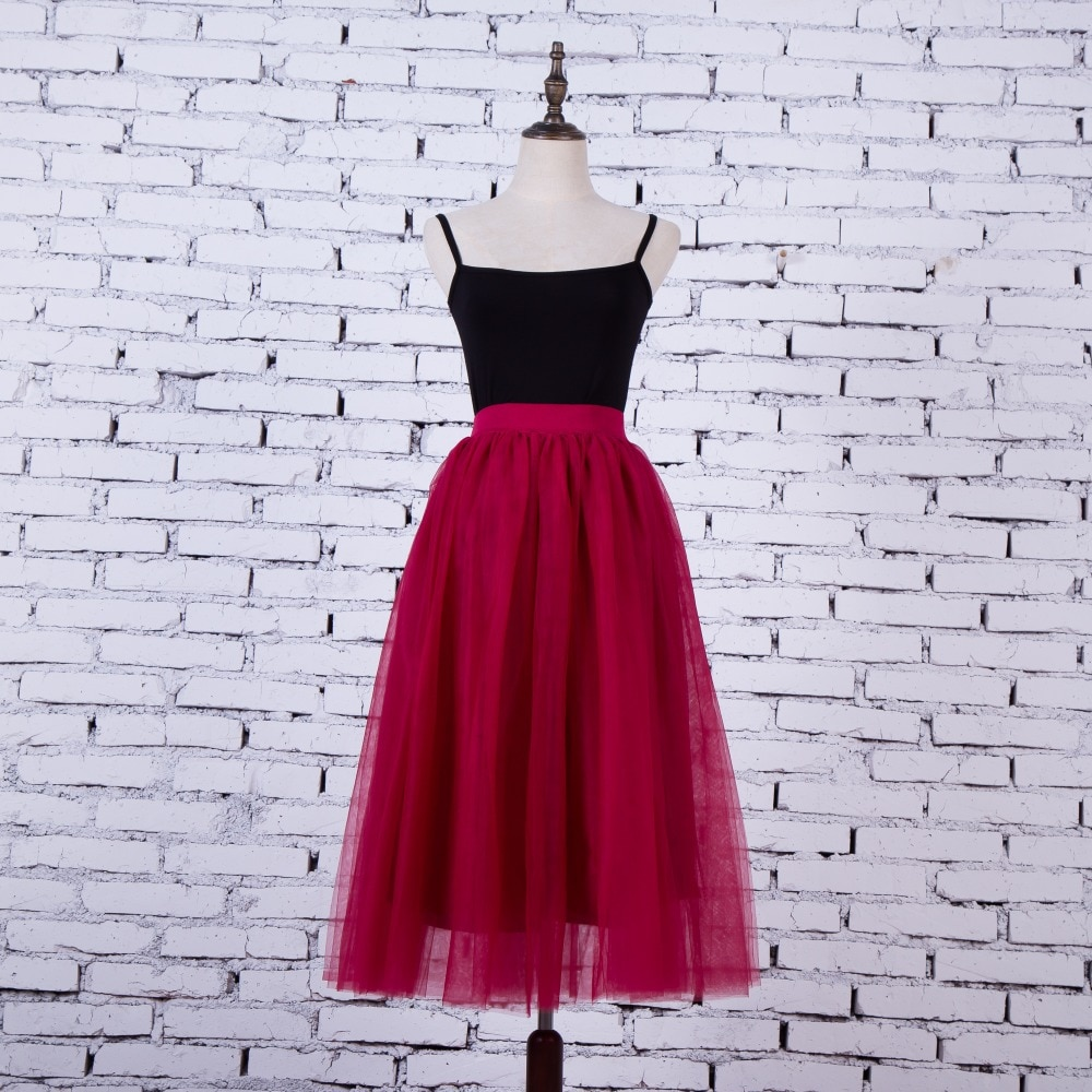 FOLOBE Vintage 7 colors faldas korean style 80cm Long maxi Tulle skirts autumn jupe high waist adult long tulle skirt 4 Layers 1