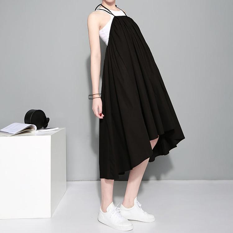 19 Summer Women Black Long Maxi Skirt Elastic Waist Pleated Infinite Skirt Convertible Girls Loose Casual Suspender Skirt 1388 2