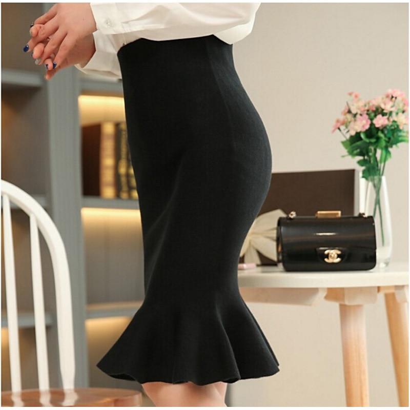 high waist skirts womens 16 knit midi Fish Tail ruffles hip Skirt Saias Femininas FS0198 3
