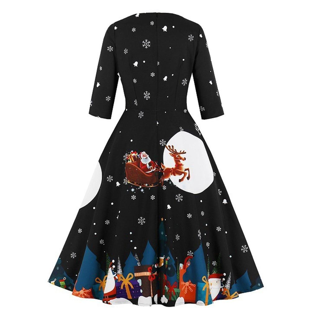 Christmas Dress Women Festival Santa Claus Print Autumn Winter Vestidos Robe Plus Size Half Sleeve Zipper Vintage Party Dresses 2