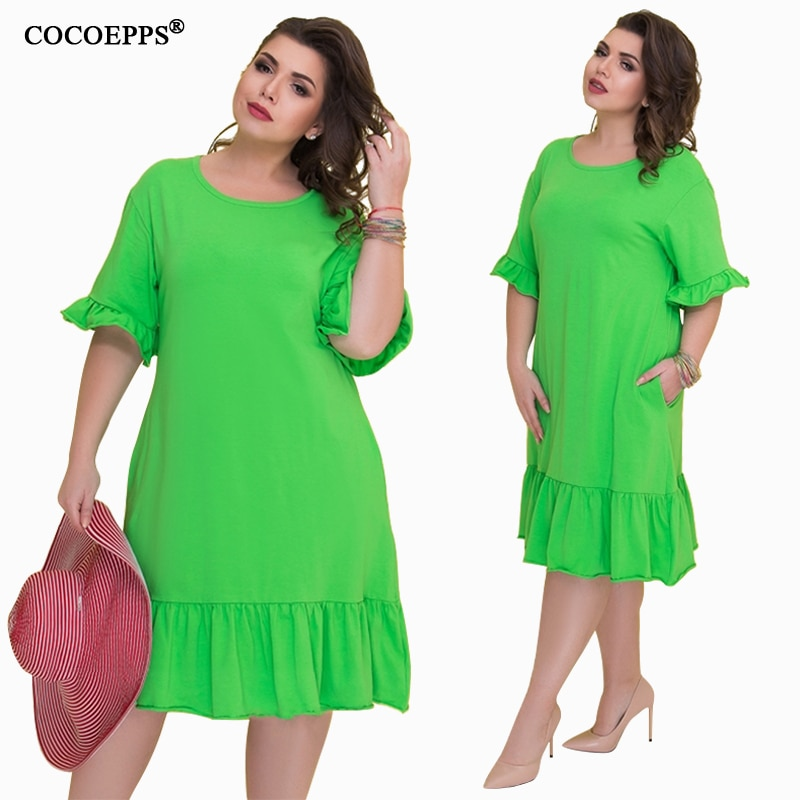 COCOEPSS 19 Plus Size Casual Loose Dress Big Size Women Dress Summer Half Sleeve Dress Ruffles Elegant Party Large Size Dress 1