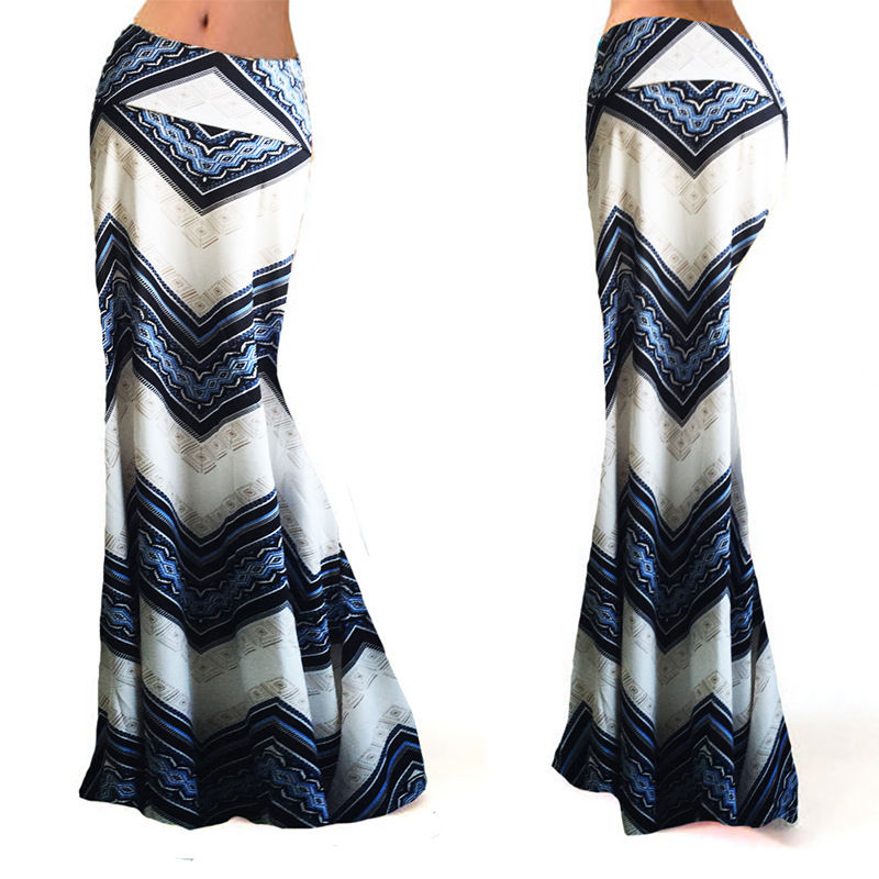 19 new fashion sexy hot casual print empire Women Long Gypsy High Waist Maxi Skirts Stretch Full Length Skirt Oversize 1