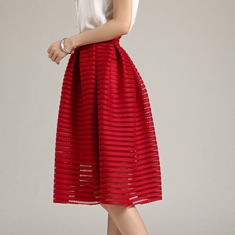 17 Large Size Summer Style Vintage Skirt Solid Reds Women Skirts Casual Hollow out fluffy Pleated Female Ball Gown long skirts 3