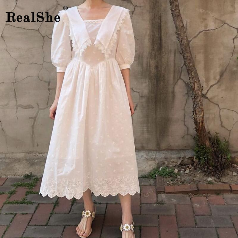 RealShe Summer Dress Long Sailor Collar Half Lantern Sleeve Ruffles Solid Women Dress Elegant Vestidos Bohemian Maxi Dress Beach 1