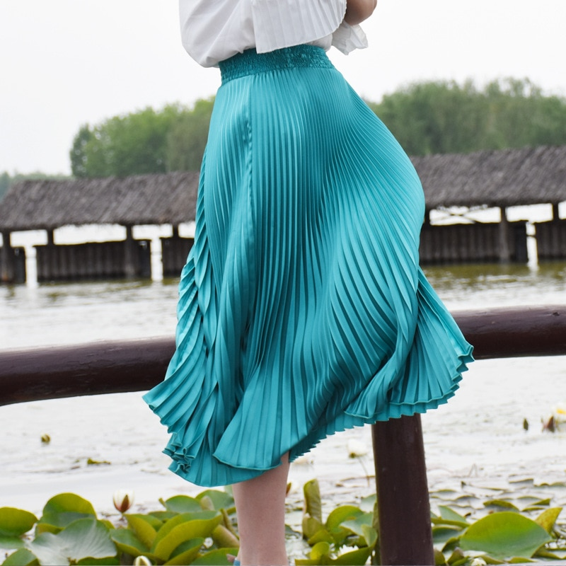 FLOWER SKY Summer New Fashion Stretch Bright Pleated Skirt Women A Line Mid Maxi Flare Party Skirts Womens Saia 1