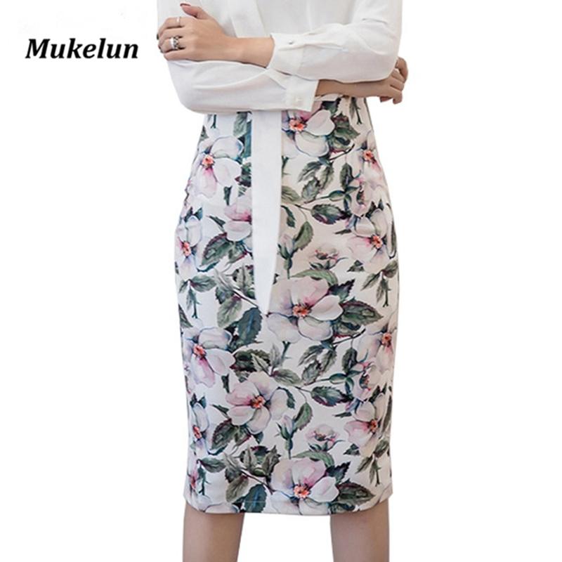 S-5XL Spring Summer Vintage Skirts Women High Waist Slim Novelty Print Fashion Lady Bandage Pencil Skirt Saias Plus Size 1