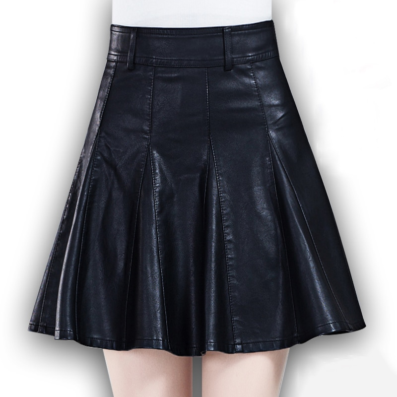Black high waisted pleated PU skirts for women winter large size faux leather skater skirts ladies oversized mini circle skirts 1