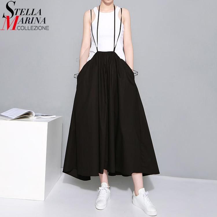 19 Summer Women Black Long Maxi Skirt Elastic Waist Pleated Infinite Skirt Convertible Girls Loose Casual Suspender Skirt 1388 1