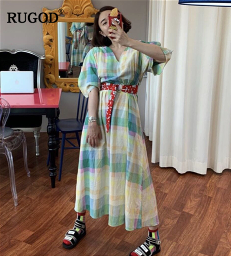 RUGOD 19 New Arrival Women Colorful Dress V-neck Half Sleeves Loose Straight Vintage With Sash Constrast Colors Vintage Mujer 2