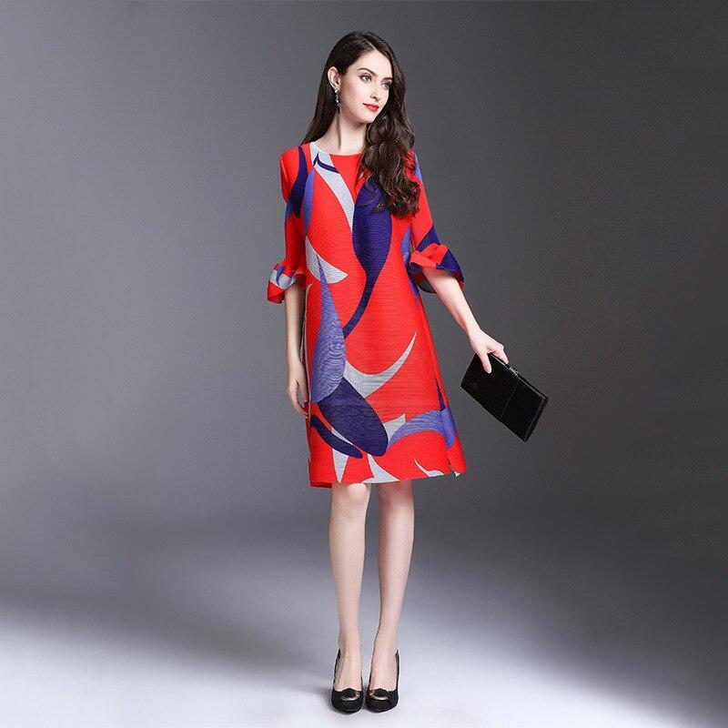 TVVOVVIN 19 New Pleated For Women Flare Half Sleeve Printed Dress Female High Quality Clothing Vestido E004 2