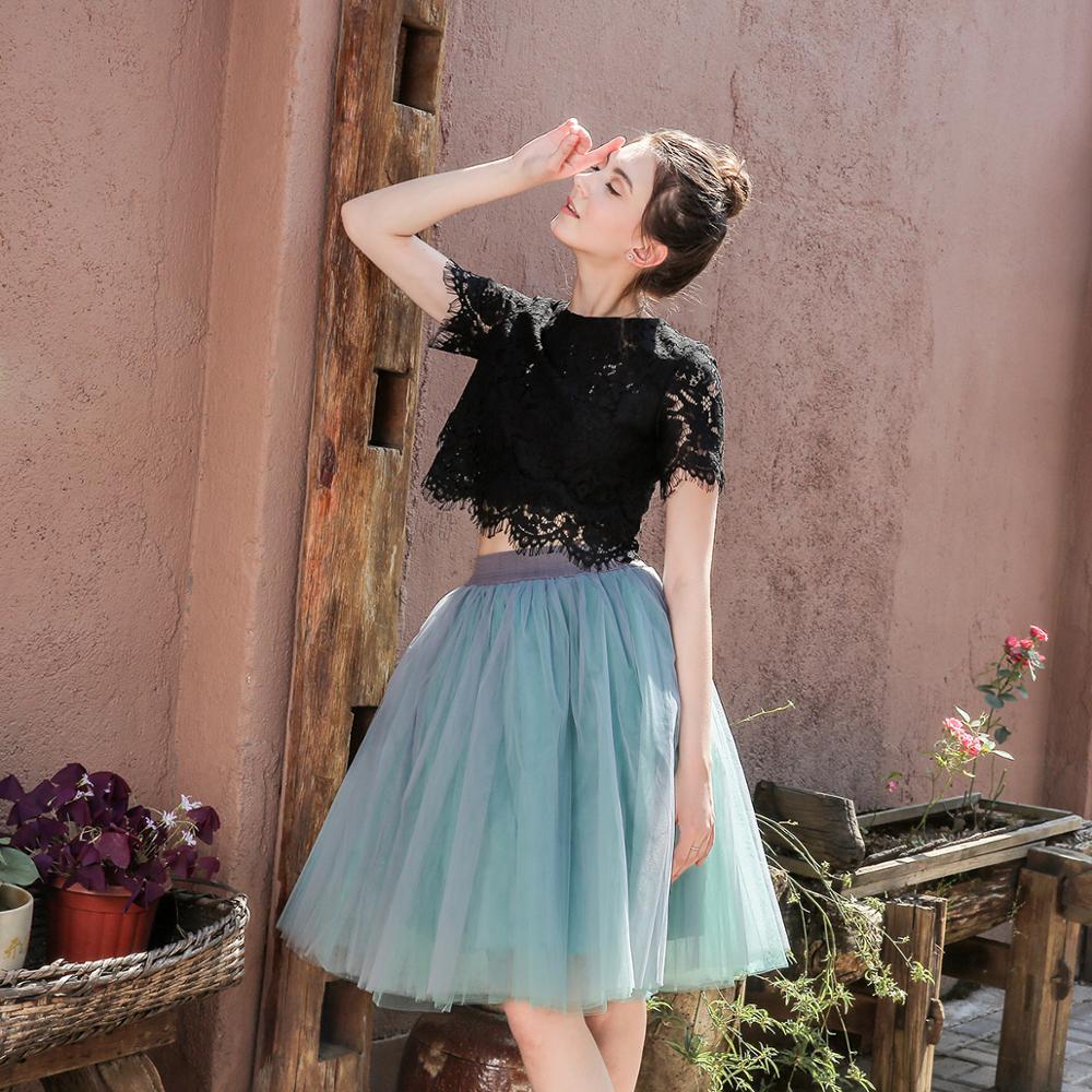 5 Layers 60cm Princess Midi Tulle Skirt Pleated Dance Tutu Skirts Womens Lolita Petticoat Jupe Saia faldas Party Puffy Skirts 3