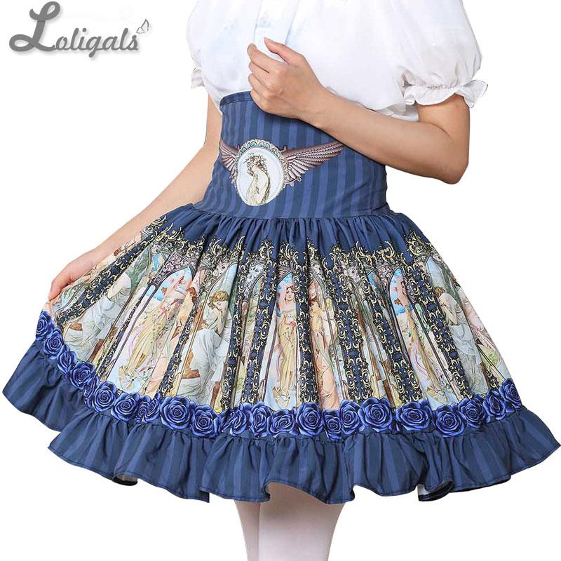 Sweet Mori Girl High Waist Skirt Blue Musha Printed Women's Short Skirt with Ruffles 1