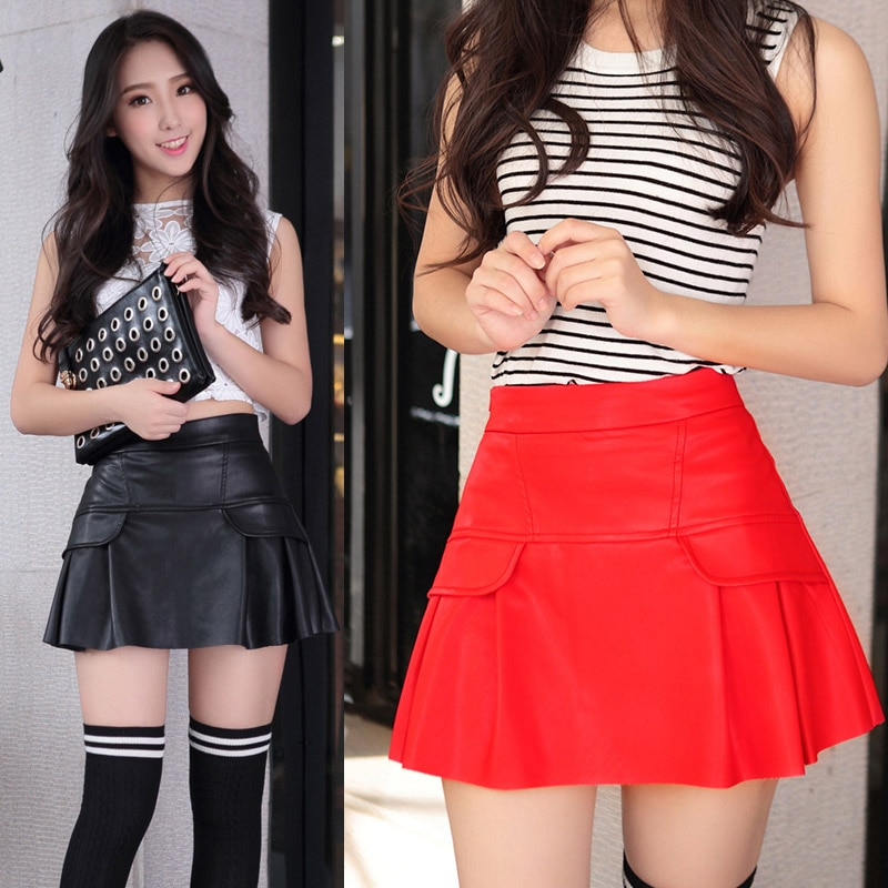 Free shipping new high waist high quality leather skater flare skirt mini skirt above knee solid color skirt S/M/L/XL/2XL 2