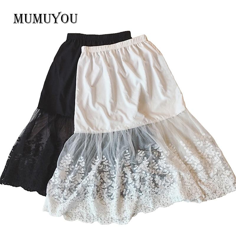 Women Lady Lace Mesh Slip Skirt Knee Length A-Line Floral Underskirt Petticoat Fashion Summer New White Black 904-733 1