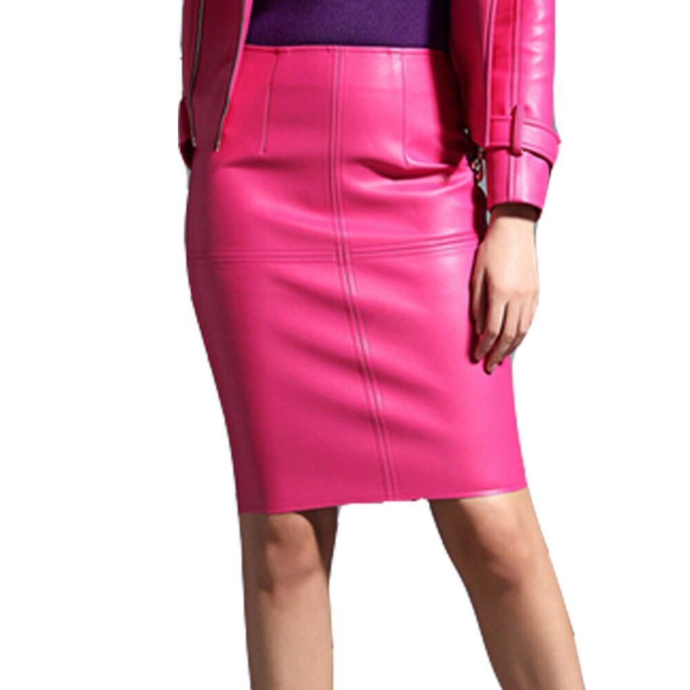 KoHuiJoo Sexy Leather Skirt Women Slim Solid Pencil Skirts Ladies High Waist Knee Length Blue Pink Faux Leather Skirt Black Red 3