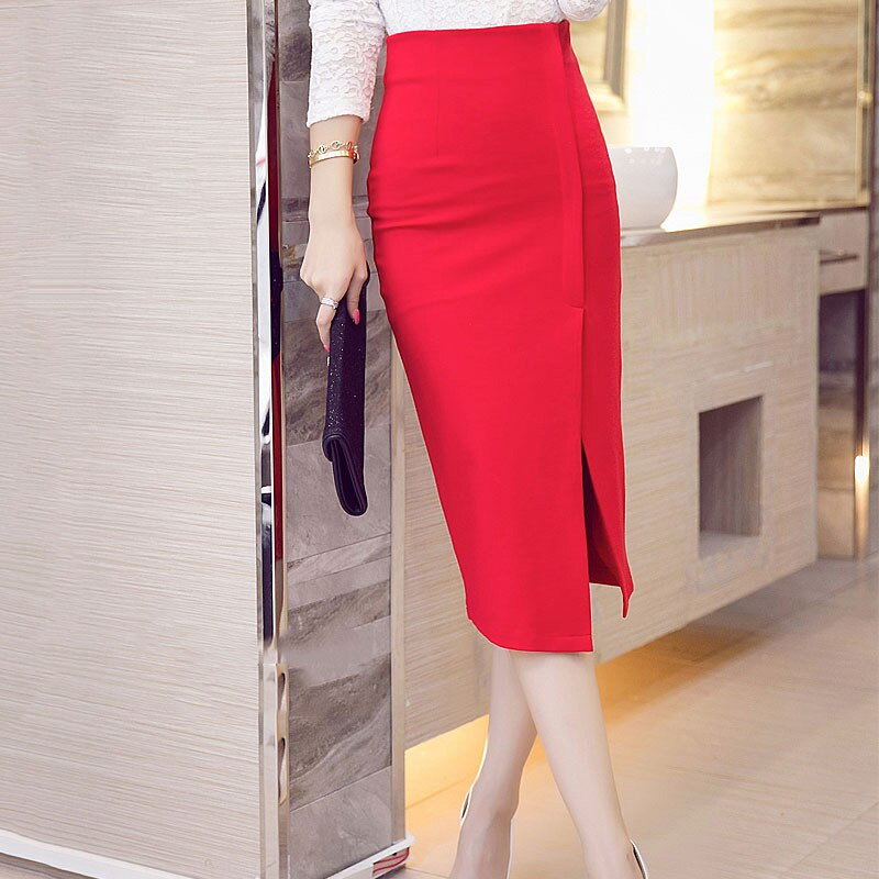 18 spring summer women Korean Style Split Skirts Casual Slim high Waist Hip Skirt Calf Elastic Plus Size lady skirt