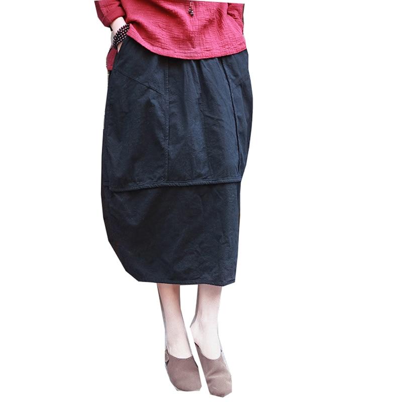 Linen skirt New Vintage and Retro Ethnic Elegant Skirts Solid Long Red Black Skirt Bud Hem Cotton Women Patchwork Saia Femme 1