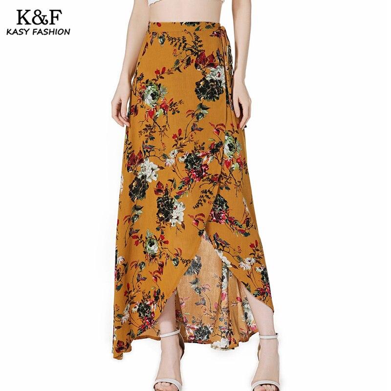 Women Lace Up Split Maxi Beach Summer Skirt 18 High Waist Bohemian Print Casual Asymmetrical Slit long Skirt Mujer Boho Skirts