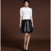 Svadilfari Wholesale New 18 Spring Skirts Solid 100% High Quality Genuine Leather Pleated Umbrella Shape Skirts For Woman