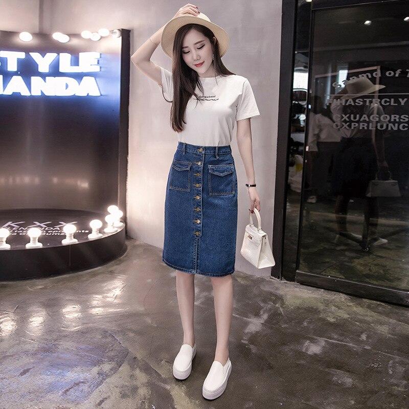 New Summer Women Skirt Fashion Vestido Plus Size Solid Pockets Single-Breasted Jeans Skirt For Women Large Size Denim Midiskirt 3