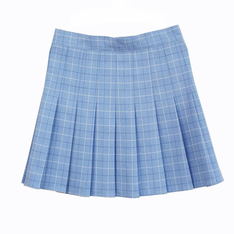 A-line Plaid pleated skirt Uniform high waist Skirt classical Gray&khaki&blue&pink lattice 1