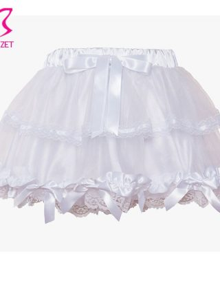 Corzzet White Lace Wedding Tu Tu Skirt Burlesque Women Lolita Tutu Party Dance Adult Skirt Performance Cloth