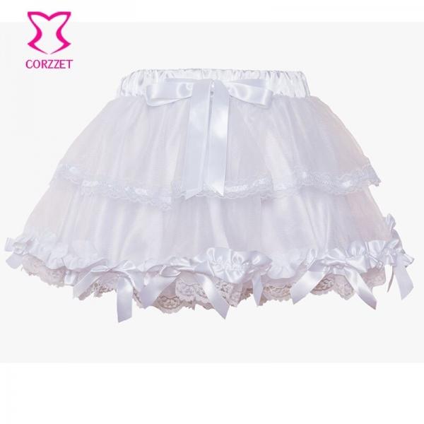 Corzzet White Lace Wedding Tu Tu Skirt Burlesque Women Lolita Tutu Party Dance Adult Skirt Performance Cloth
