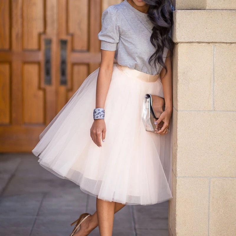 Party Train Puffy 5Layer 60CM Fashion Women Tulle Skirt Tutu Wedding Bridal Bridesmaid Overskirt Petticoat Lolita Saia 19 3