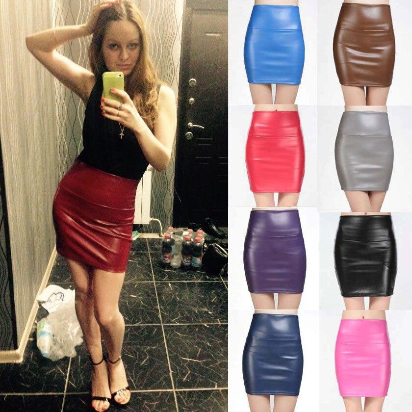 19 New fashion Women faux pu Leather skirt high waist party clothing female short pencil woman skirts saias femininas 3